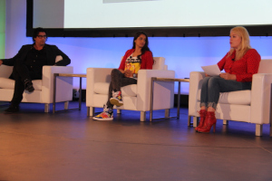 (L to R) Nick Shore, Chief Creative Strategist, Austronauts Wanted, Lily (Superwoman) Sing, YouTuber, actress, Amanda de Cadenet, host, The Conversation during Straight Outta YouTube Keynote