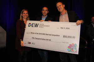 (L to R) DEW Start-up winners, Caroline Lesley & ; Jon Erlichman, co-founders Parachute TV with Ned Sherman, CEO, Digital Media Wire, & ; co-founder DEW Expo