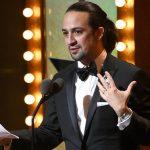 "Lin-Manuel Miranda accepts the award for best original score for ""Hamilton"""