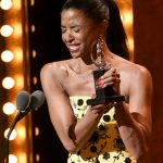 """Renee Elise Goldsberry accepts the award for featured actress in a musical for """"Hamilton"""""""