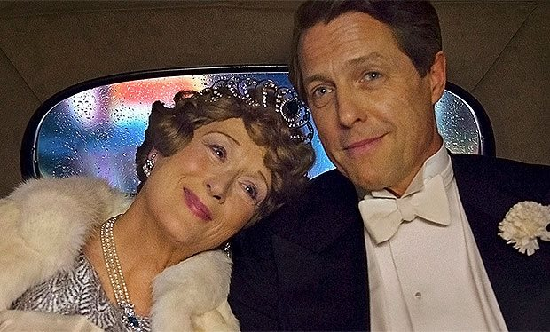 Streep as Florence Foster Jenkins and Hugh Grant as Jenkins husband, St. Clair Bayfield