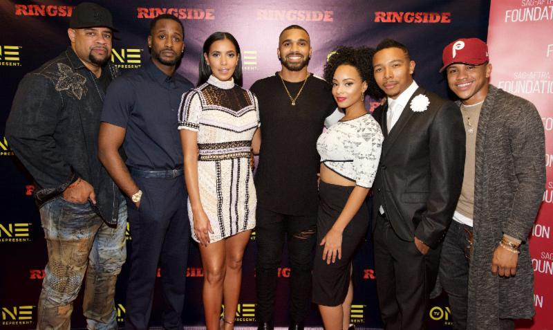 (L-R) Ringside writer and director Russ Parr, and Cast of Ringside Jackie Long, Julissa Bermudez, Tyler Lepley, Raney Branch, Allen Maldonado and Tequan Richmond