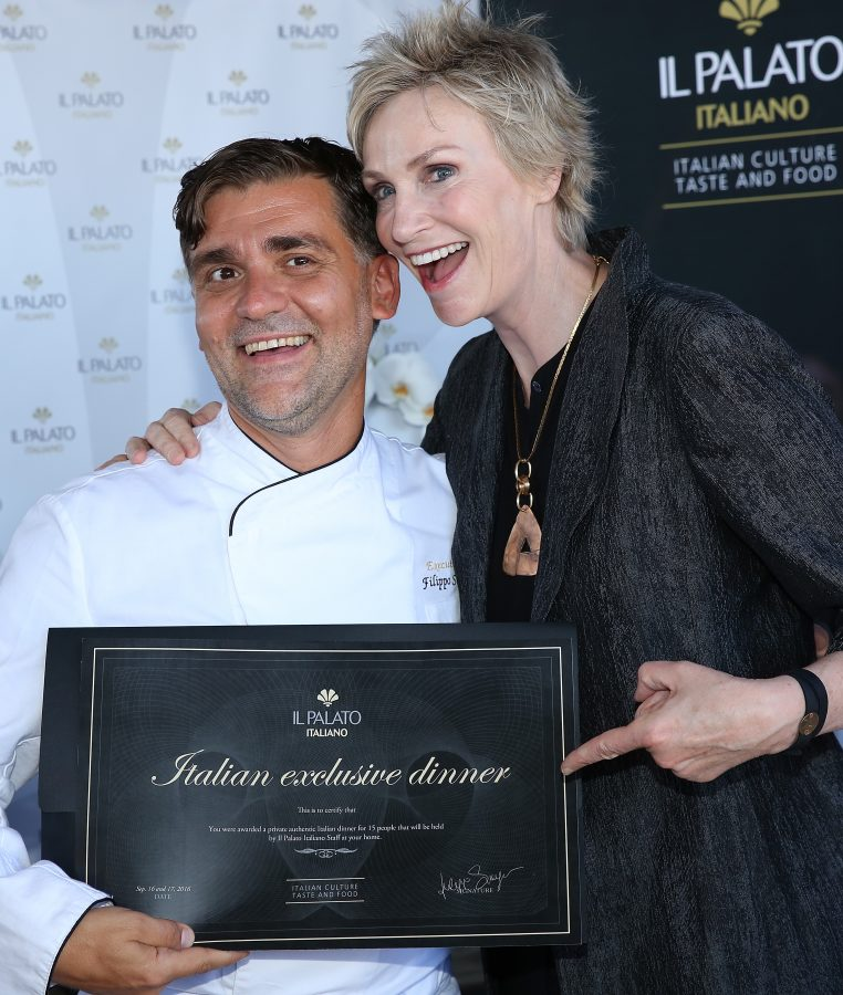 Actress Jane Lynch (R) and chef Filippo Sinisgalli