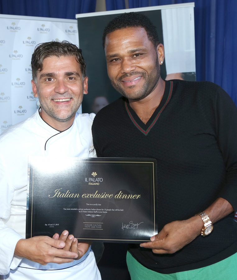 Actor Anthony Anderson (R) and chef Filippo Sinisgalli