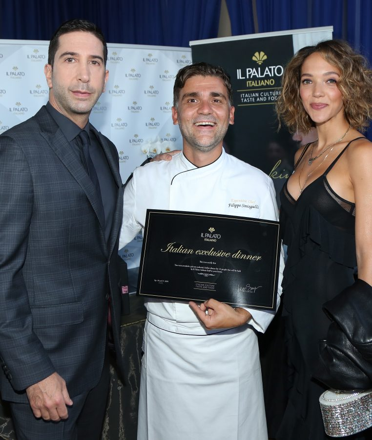 (L-R) Actor David Schwimmer, chef Filippo Sinisgalli