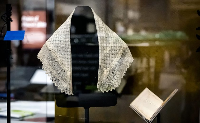 Harriet Tubman's shawl and hymnal.  ED HILLE / Staff Photographer