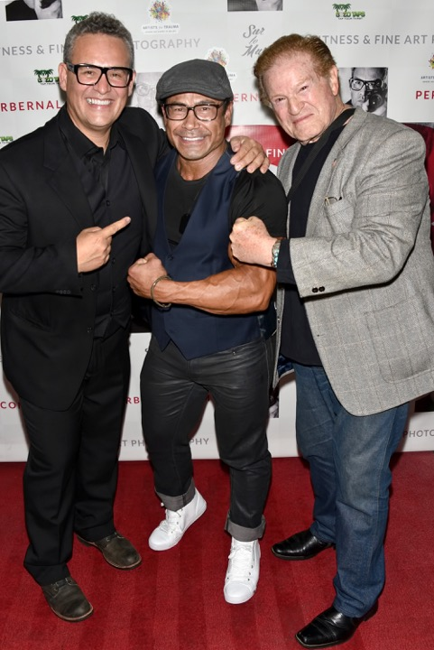 Per Bernal, one time Mr. Olympia Danny Hester and noted actor Hank Garrett, courtesy of Michael Bezjian/Gettyimages