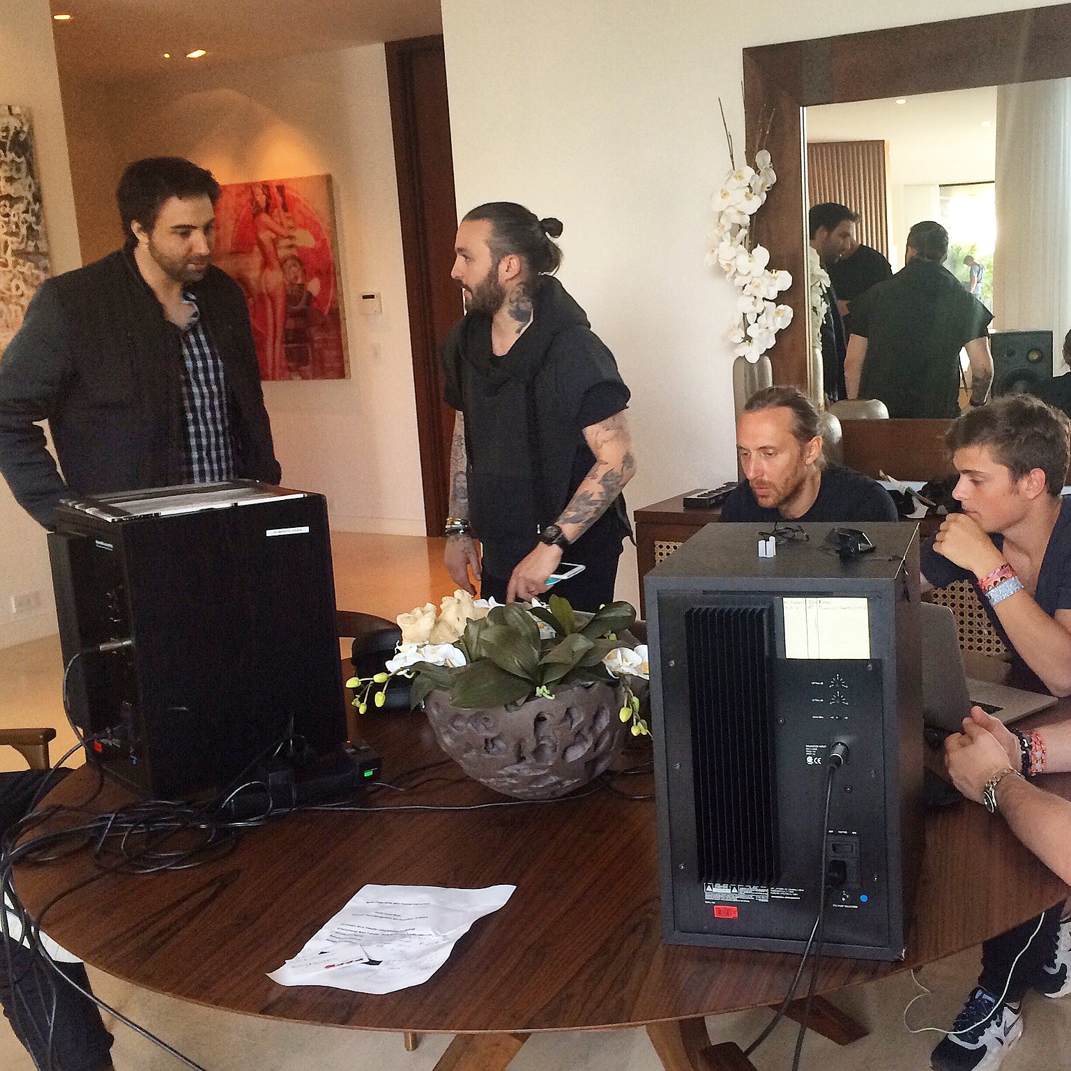 Behind the scenes with stars Martin Garrix, David Guetta, Steve Angello and Writer, Producer Director of WHAT WE STARTED, Bert Marcus - (c) Bert Marcus Productions