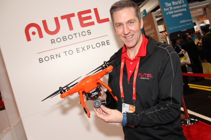 Elliot Westwater, Director of Marketing, Autel, holding Autel's X Star Premium drone with new camera (Photo by: Fredwill Hernandez/The Hollywood 360)