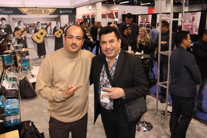 The Hollywood 360's Fredwill with David Servin drummer, Los Tucanes de Tijuana at KHS America booth