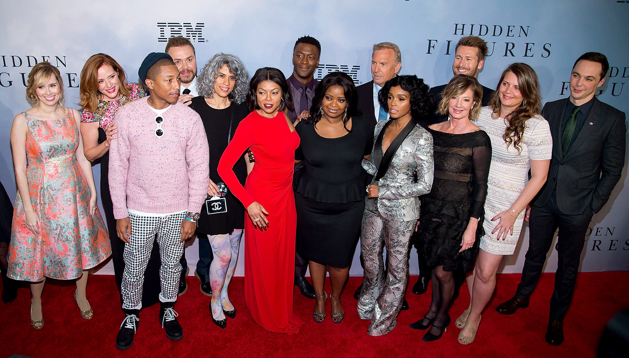 "(L-R) Kimberly Quinn, Pharrell Williams, Theodore Melfi, Mimi Vlades, Taraji P. Henson, Aldis Hodge, Octavia Spencer, Kevin Costner, Janelle Monae, Glen Powell and Jim Parsons attend the ""Hidden Figures"" New York special screening on December 10, 2016 in New York City.  (Photo by Michael Stewart/Getty Images)"