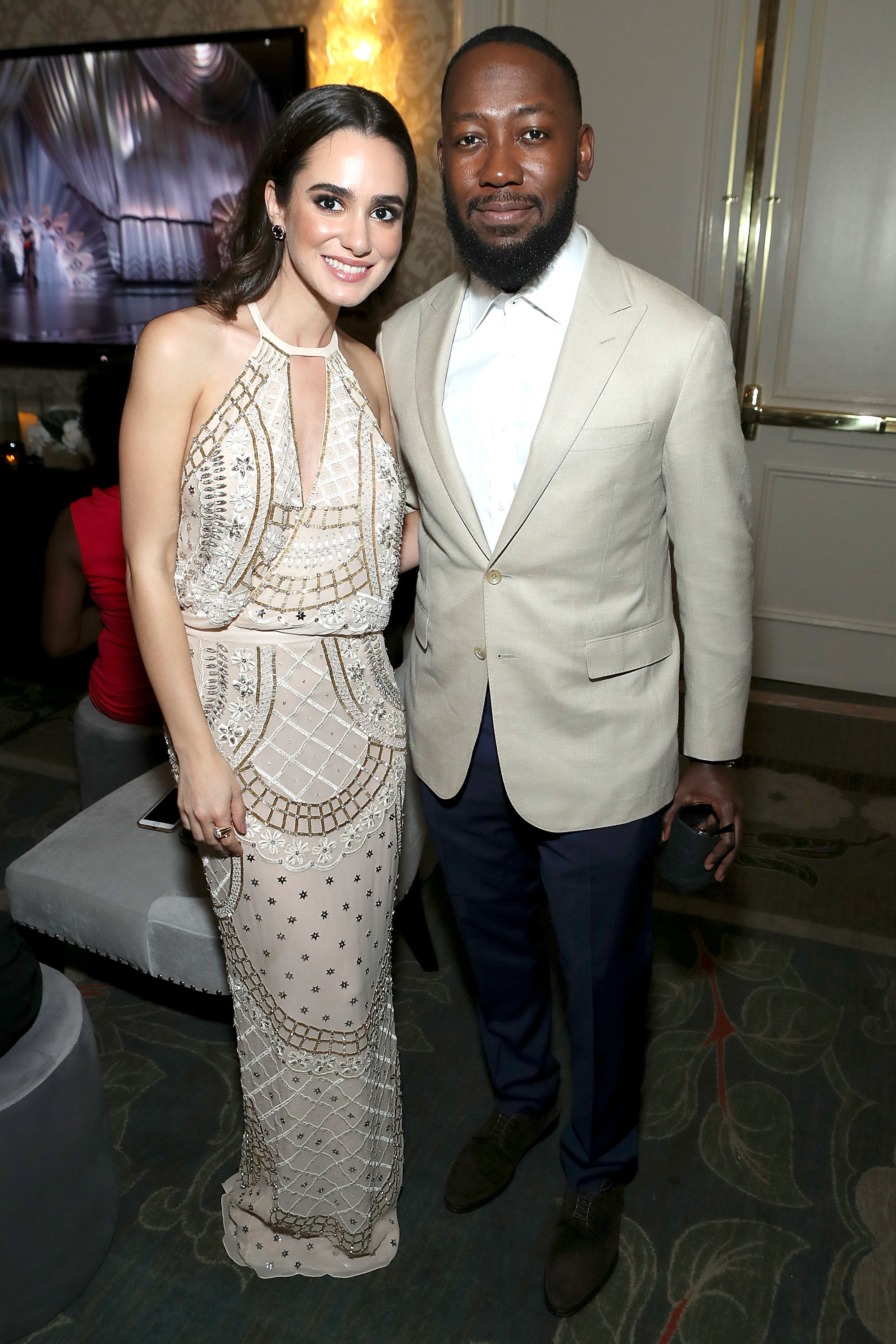 Actors Alicia Sanz (L) and Lamorne Morris