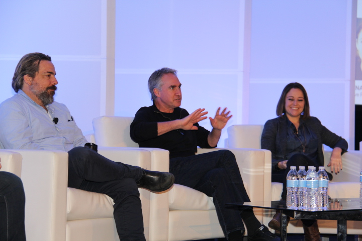 (L to R) Anthony Batt, co-Founder & EVP, WeVR, Ted Schilowitz, Futurist, 20th Century Fox, and Yelena Rachitsky, Creative Producer Experiences, Oculus VR during View From the Top - Future of VR/AR in the Entertainment Business panel (Photo by: Fredwill Hernandez/The Hollywood 360)