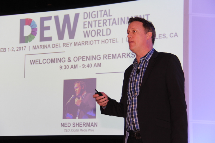 Ned Sherman, CEO, Digital Media Wire during opening & welcoming remarks (Photo by: Fredwill Hernandez/The Hollywood 360)