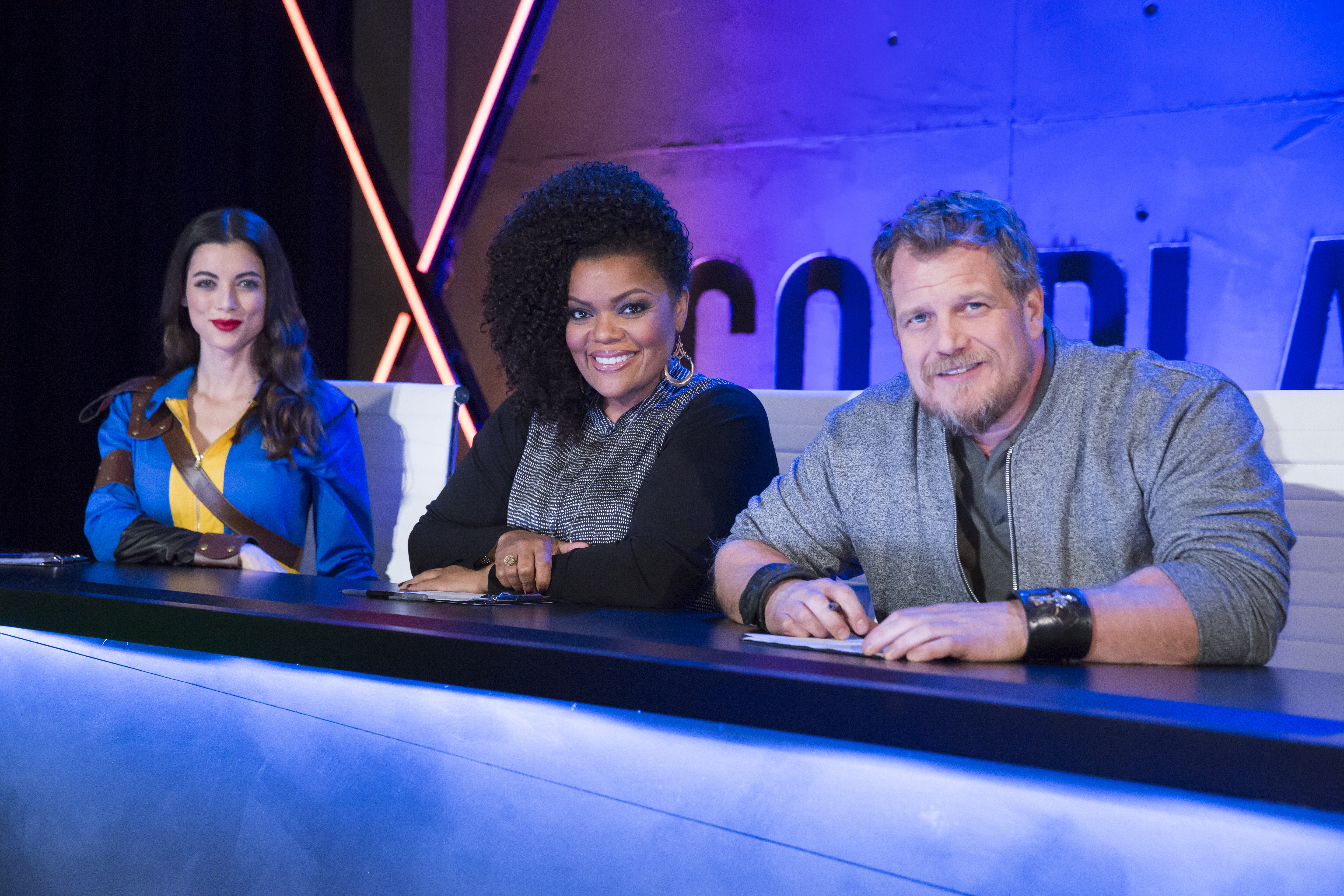 COSPLAY MELEE Judges-Pictured:  (l-r) LeeAnna Vamp, Yvette Nicole Brown, Christian Beckman -- (Photo by: Dale Berman/Syfy)