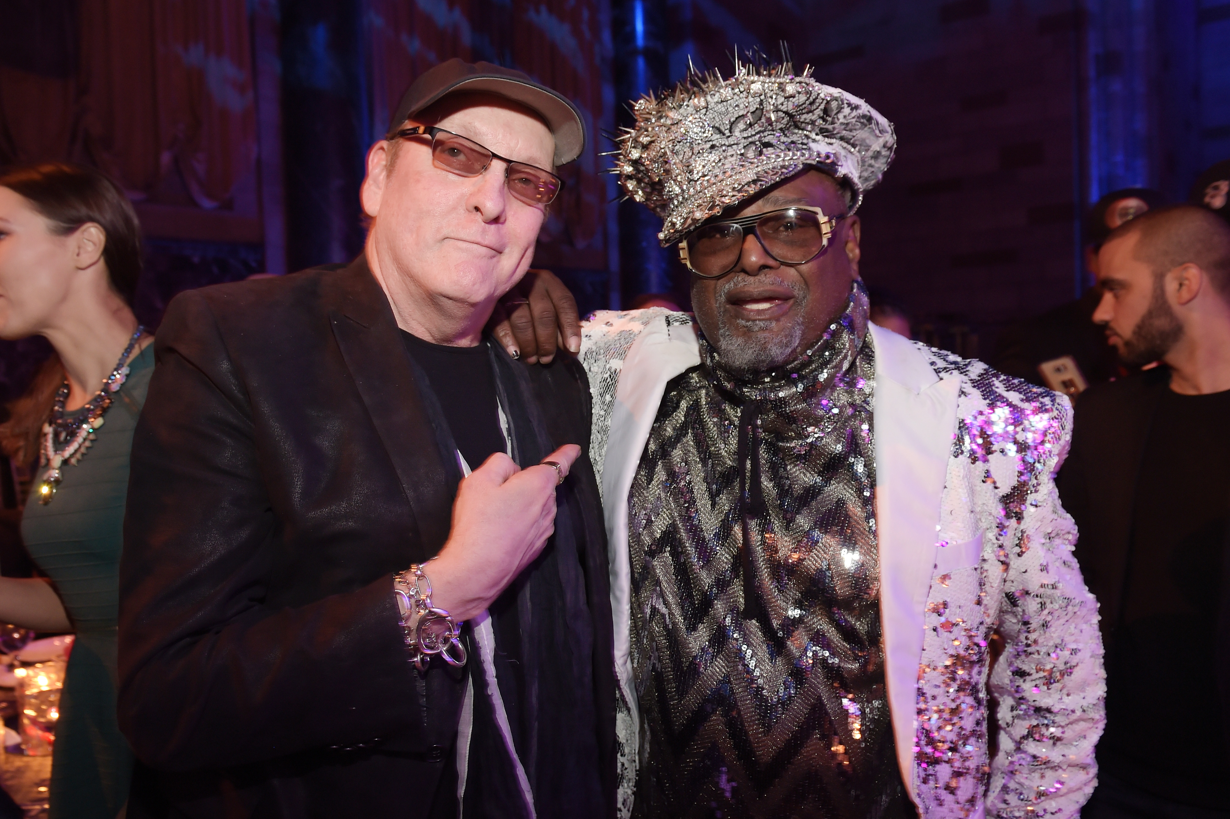 NEW YORK, NY - APRIL 13: Guitarist Rick Nielsen of Cheap Trick (L) and Singer/Songwriter George Clinton attend the 2017 SESAC Pop Awards on April 13, 2017 in New York City. (Photo by Jason Kempin/Getty Images for SESAC)