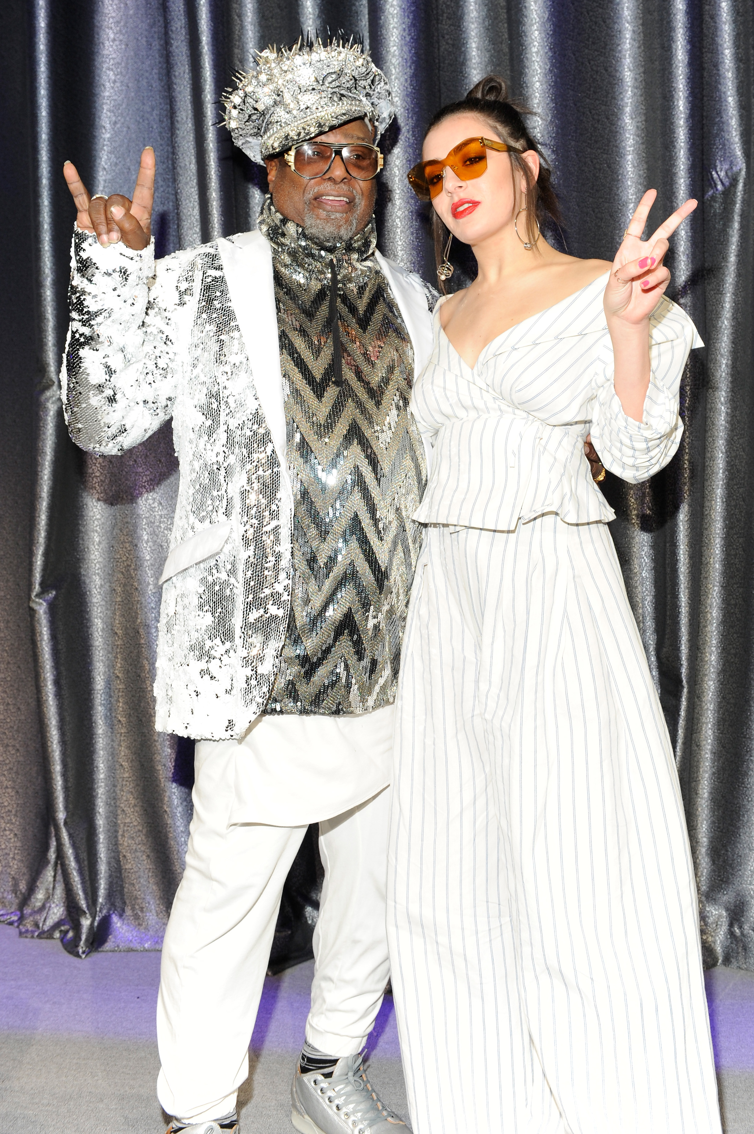 Singer/Songwriter George Clinton (L) and Singer-songwriter Charli XCX (Photo by Shawn Ehlers/Getty Images for SESAC)