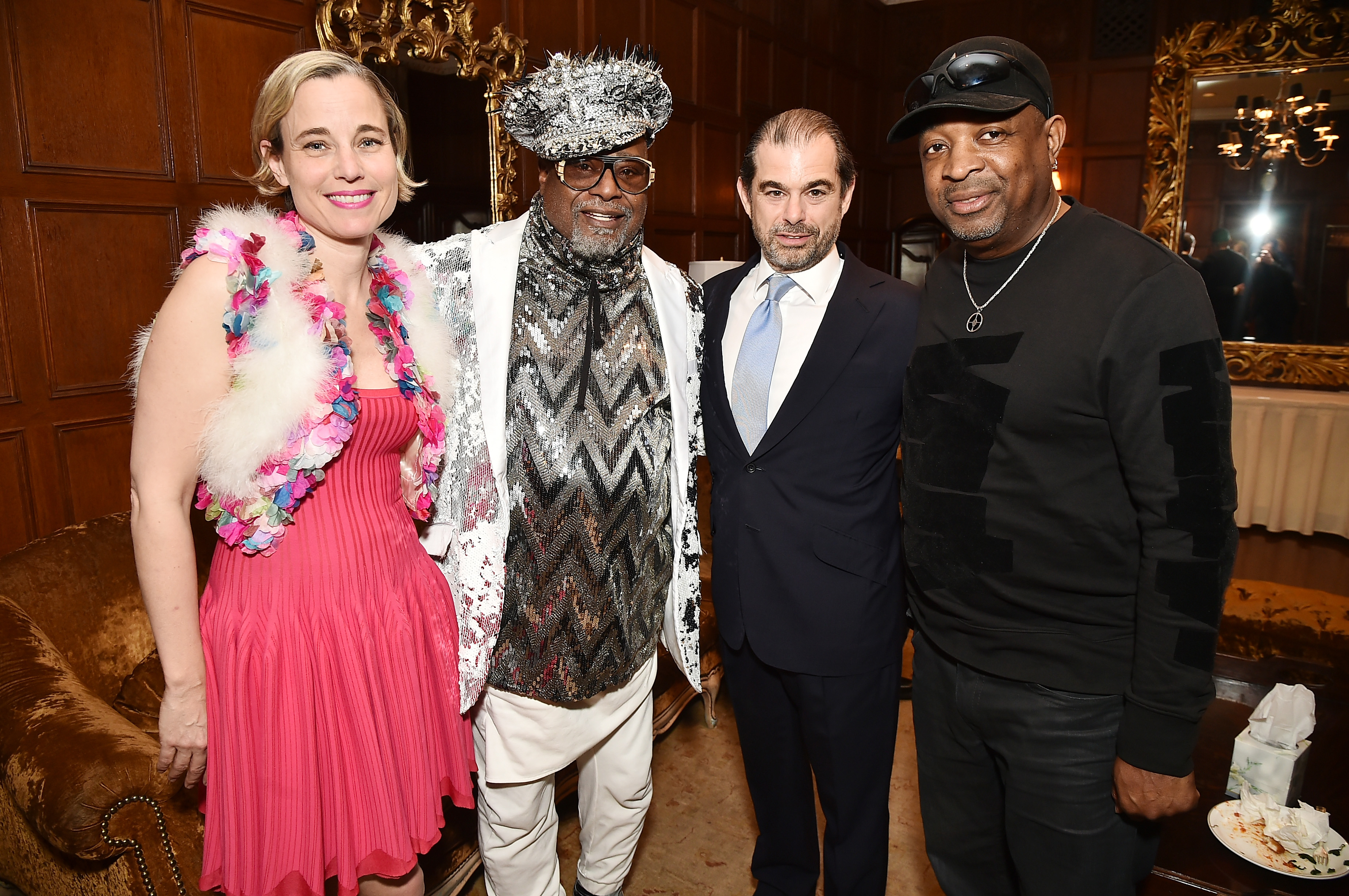 NEW YORK, NY - APRIL 13: (L-R) Carolina Zapf, Singer/Songwriter George Clinton, Chairmain and CEO of SESAC John Josephson and Rapper Chuck D attend the 2017 SESAC Pop Awards on April 13, 2017 in New York City. (Photo by Theo Wargo/Getty Images for SESAC)