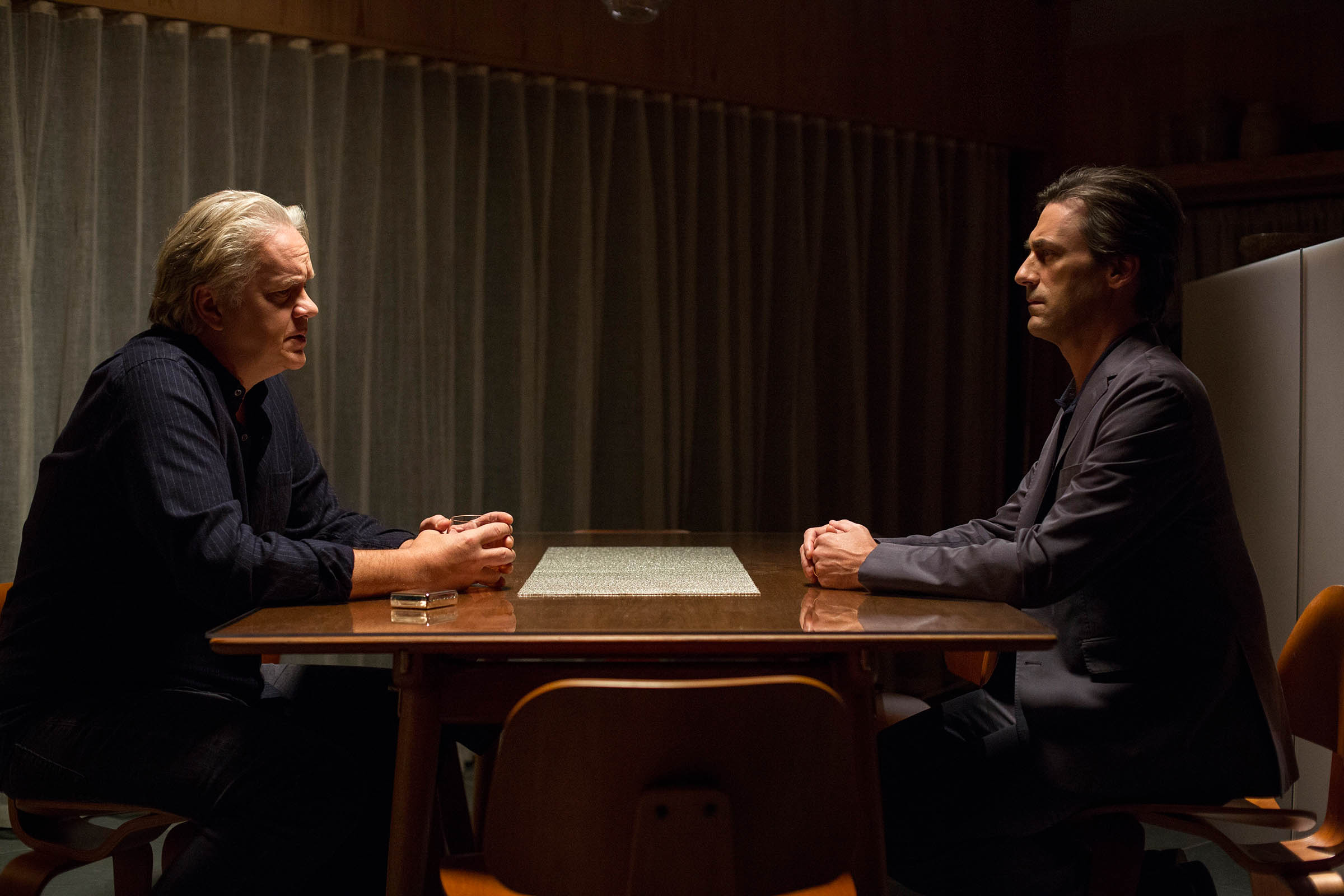 Tim Robbins and Jon Hamm appear in Marjorie Prime by Michael Almereyda, an official selection of the Premieres program at the 2017 Sundance Film Festival. Courtesy of Sundance Institute | photo by Jason Robinette.