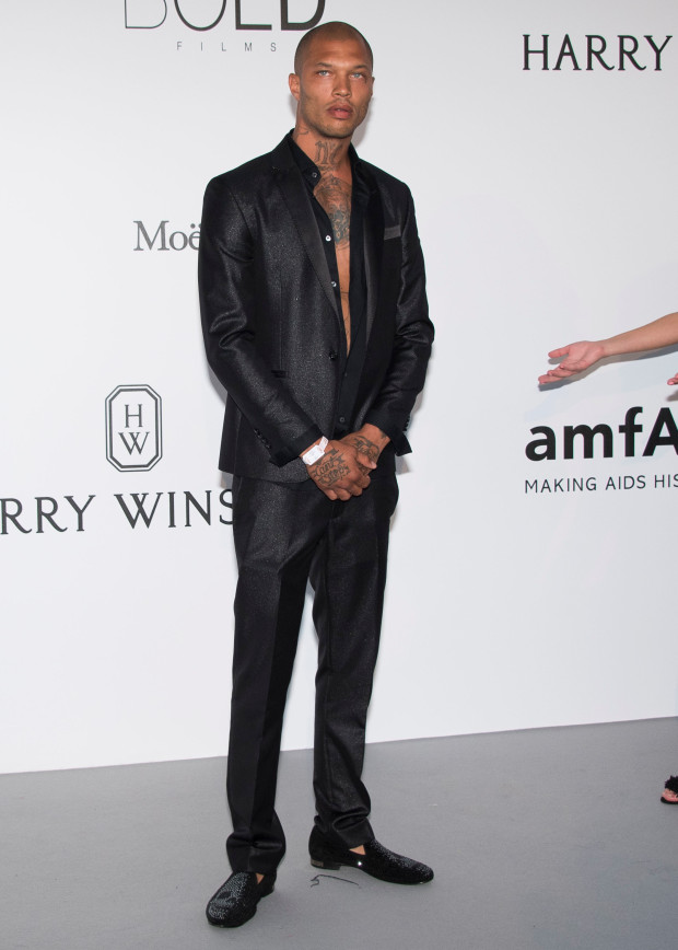 Jeremy Meeks poses for photographers upon arrival at the amfAR charity gala during the Cannes 70th international film festival, Cap d'Antibes, southern France, Thursday, May 25, 2017. (Photo by Arthur Mola/Invision/AP)