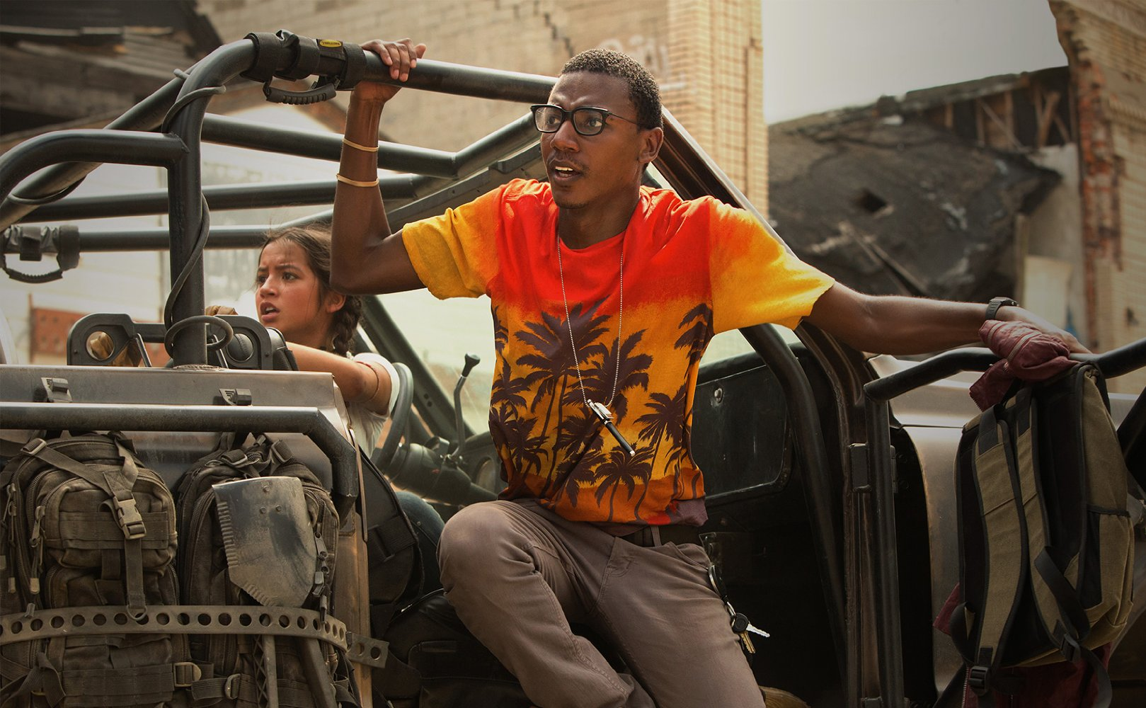 Jerrod Carmichael and Isabela Moner in Transformers The Last Knight (2017)