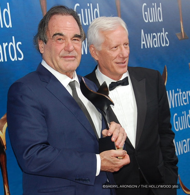 Oliver Stone with his WGA Lifetime Achievement Award , picutred with Actor, James Woods at the 2017 Writer's Guild Awards. (Photo: The Hollywood 360)