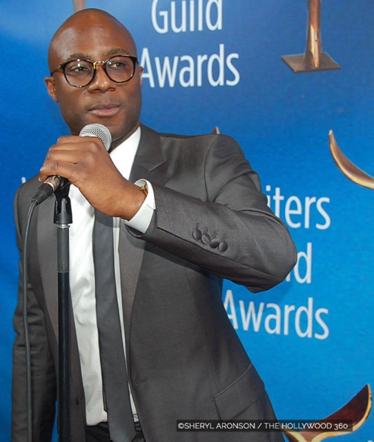 "Barry Jenkins  accepting his Writers Guild Award for ""Moonlight"" at the 2017 Writer's Guild Awards (Photo: The Hollywood 360)"