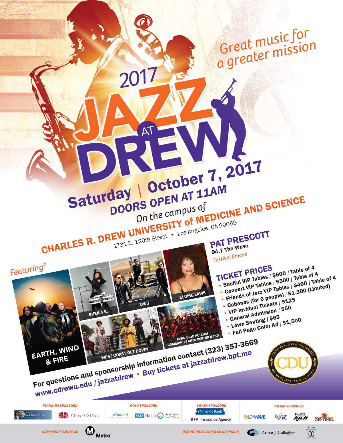 Jazz at Drew Tickets NOW ON SALE flyer