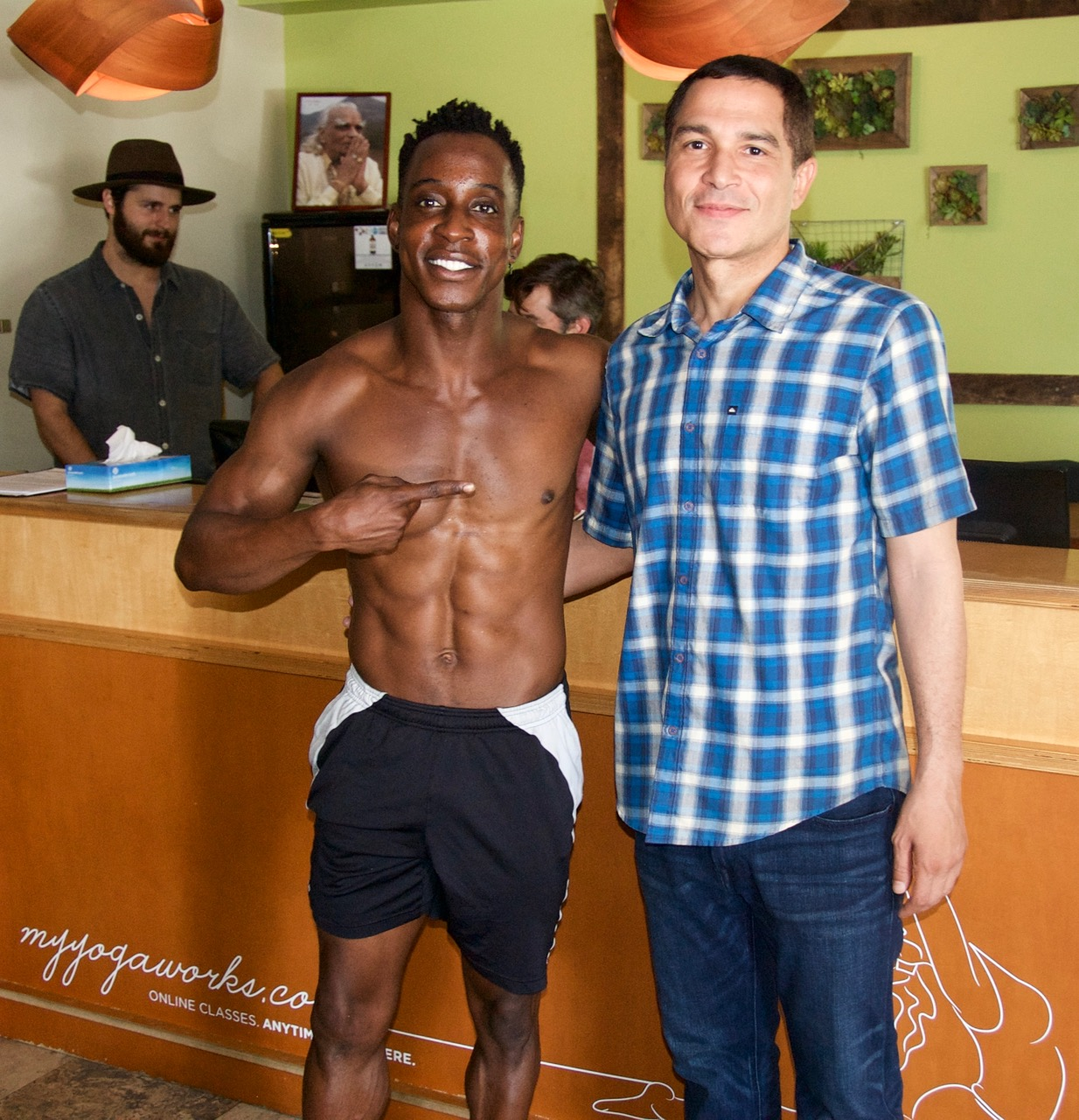 Actor and fitness guru Shaka Smith is with the Manager of Yogaworks, Bobby Breathwaite