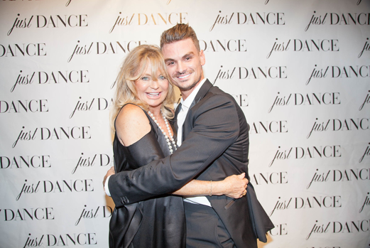 Oscar Winner and dancer Goldie Hawn and DWTS alum and Co-Founder of JustDance LA Julz Tocker attend the grand opening event for JustDance LA at Just Dance Los Angeles