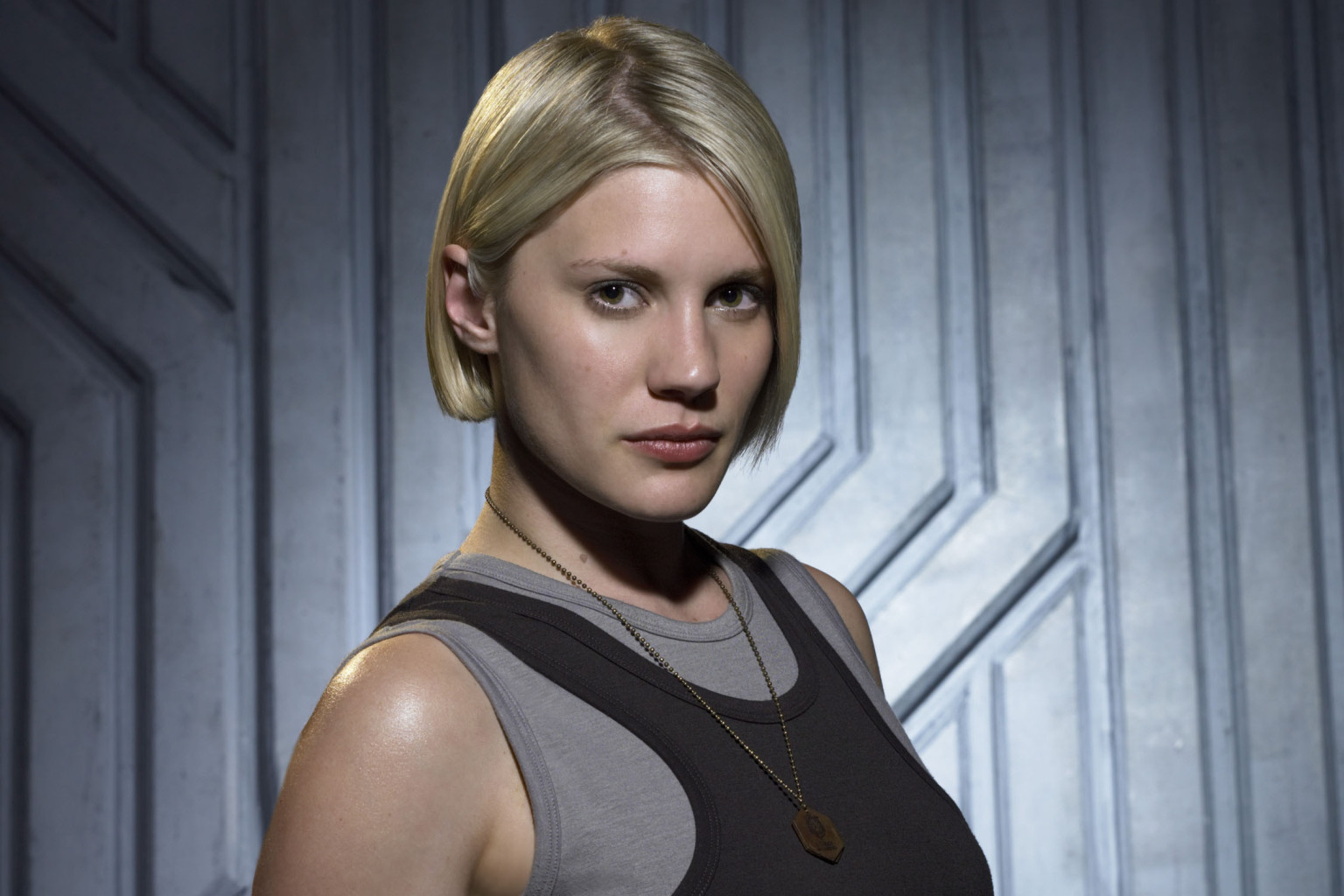 "BATTLESTAR GALACTICA - Season 2 -- Pictured: Katee Sackhoff as  Kara ""Starbuck"" Thrace -- (Photo by: Justin Stephens/Syfy/NBCU Photo Bank via Getty Images)"