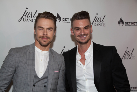 DWTS heartthrobs Derek Hough and Julz Tocker (also Co-Founder of JustDance LA) attend the grand opening event for JustDance LA at Just Dance Los Angeles on October 11, 2017 in Studio City, California