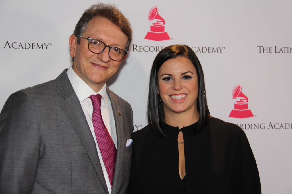 Latin Recording Academy's Gabriel Abaroa with Rebeca Leon, CEO/Founder of Lionfish Entertainment [of the Leading Ladies Inaugural Class] (Photo by: Fredwill Hernandez/The Recording Academy/The Hollywood 360)