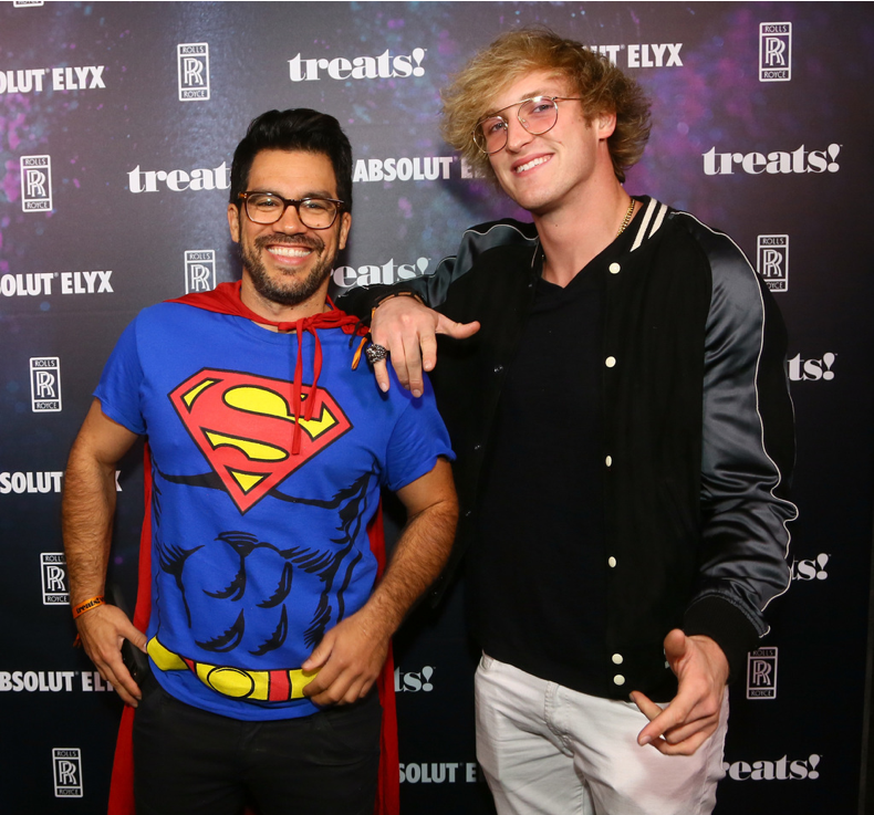 Influencers Tai Lopez (L) and Logan Paul attend treats! Magazine's 7th Halloween Party in Partnership with Rolls-Royce Black Badge, Absolut Elyx, & Perrier Jouet on October 31, 2017 in Los Angeles, California. Saving the world and staying cool, can't get any better than that! (Photo by Gabriel Olsen/Getty Images for Treats Magazine